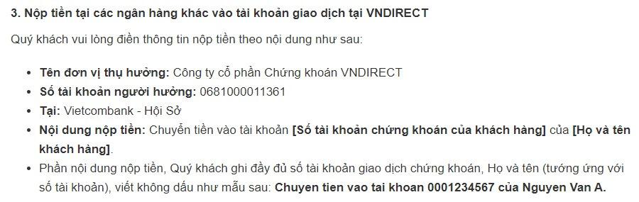 Hướng dẫn chuyển tiền vào tài khoản chứng khoán của VNDirect