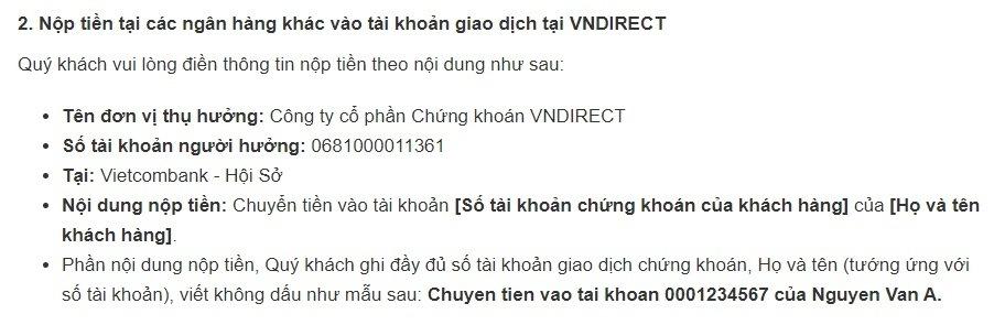 Hướng dẫn nộp tiền vào tài khoản chứng khoán của VNDirect