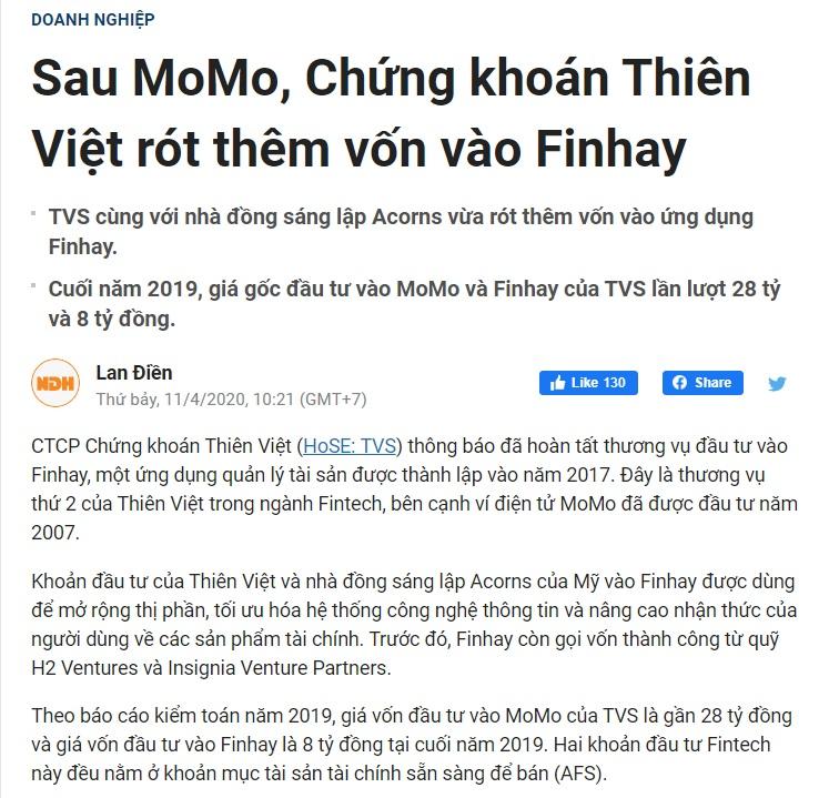 Chứng khoán Thiên Việt rót thêm vốn vào Finhay