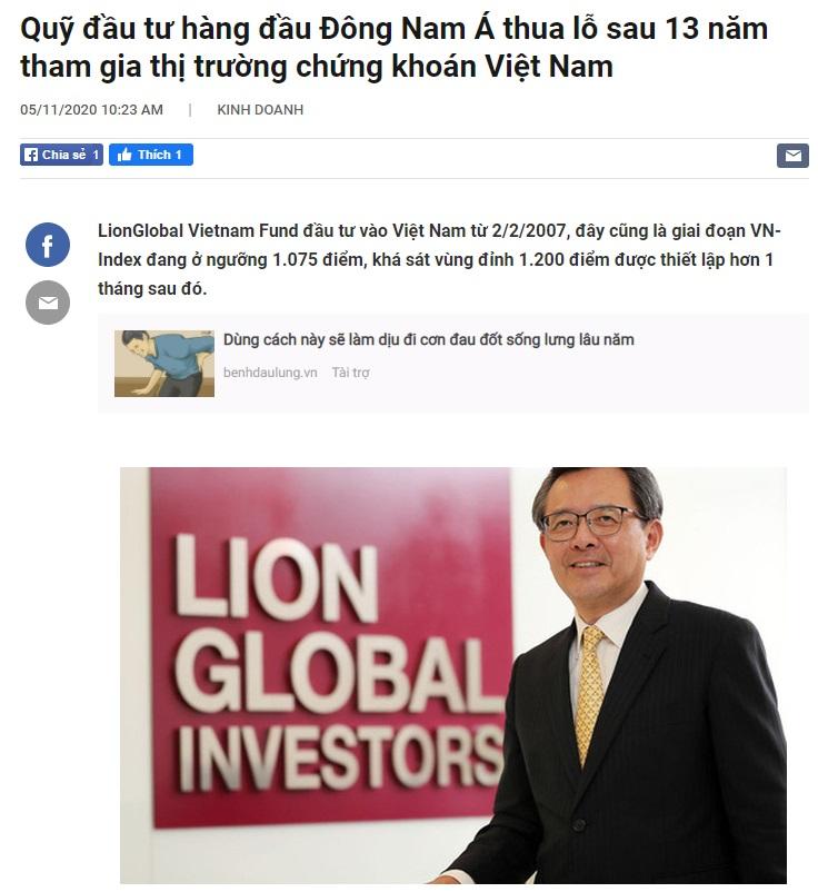 Quỹ này đầu tư 13 năm ở thị trường Việt Nam mà vẫn chưa hòa vốn do mua đúng đỉnh năm 2007