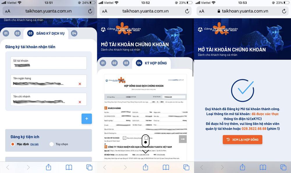 Hoàn thiện mở tài khoản chứng khoán online Yuanta